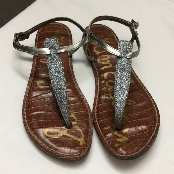 c9d7c7396424d4 Sam Edelman silver glitter Gigi Thong Sandals